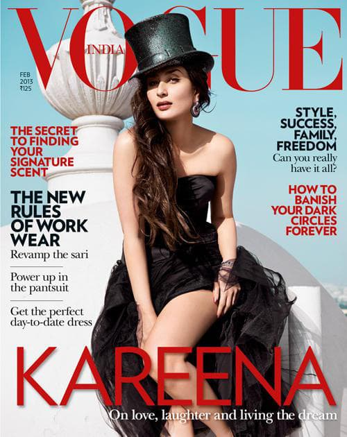 Kareena Kapoor looks outstanding in a Dior black bustier with a tulle skirt topped with a Philip Treacy top hat. This is Bebo's third Vogue, India cover.