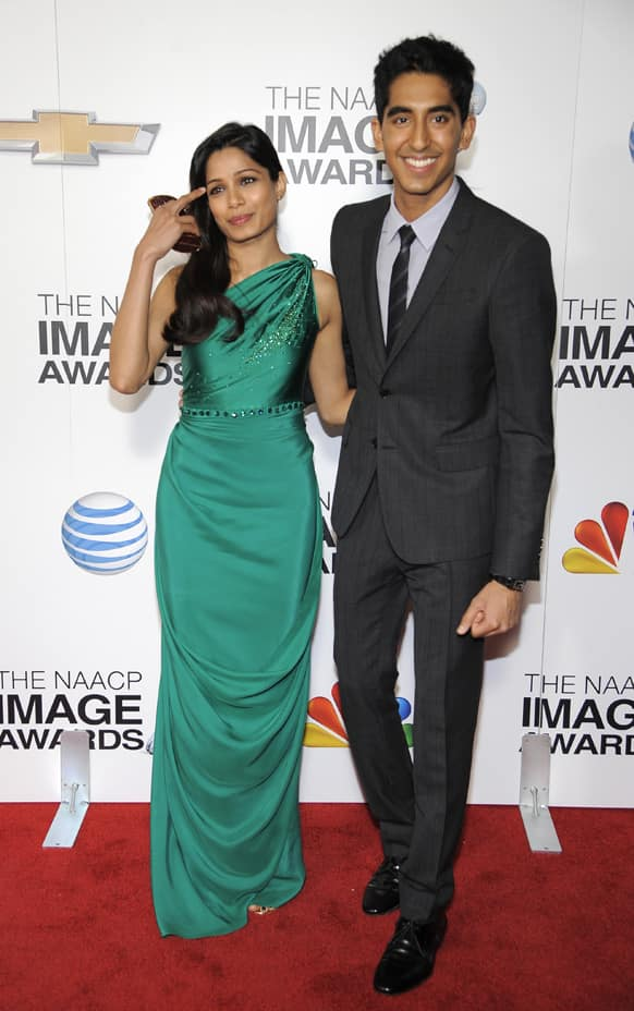 Freida Pinto and Dev Patel arrive at the 44th Annual NAACP Image Awards at the Shrine Auditorium in Los Angeles.