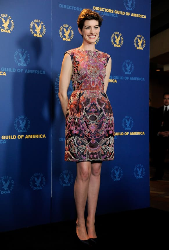 Actress Anne Hathaway poses backstage at the 65th Annual Directors Guild of America Awards at the Ray Dolby Ballroom, in Los Angeles.