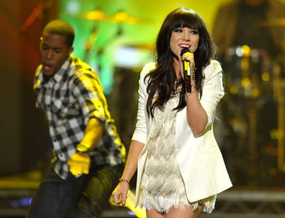 Carly Rae Jepsen performing at the 40th Annual American Music Awards in Los Angeles.