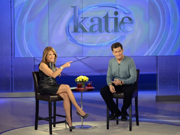Actor Charlie Sheen, right, with host Katie Couric during an appearance on