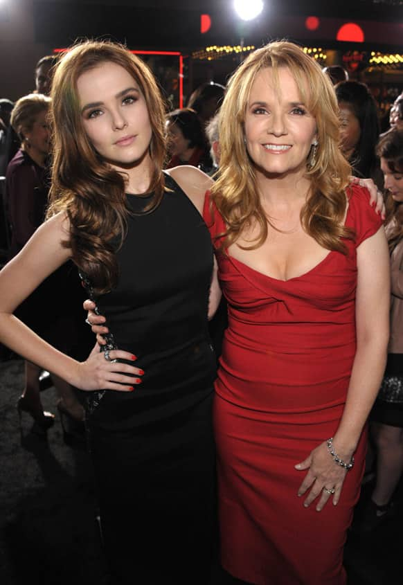Zoey Deutch, left, and mother Lea Thompson attend the premiere of
