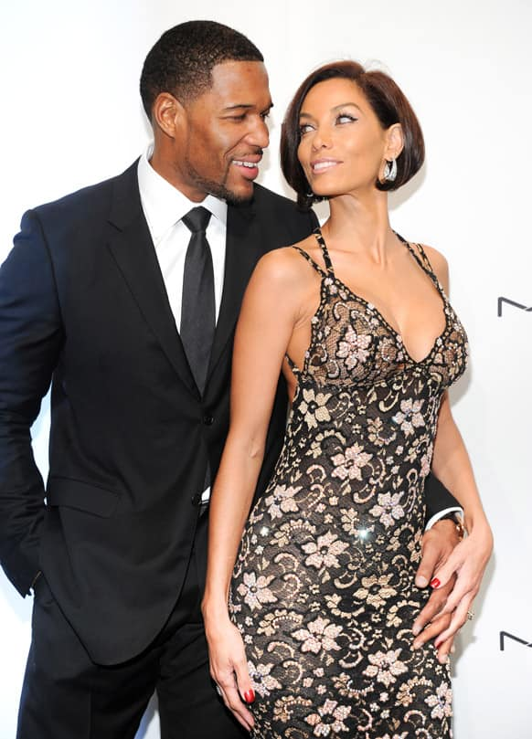 Television personality Michael Strahan and girlfriend Nicole Murphy attend amfAR's New York gala at Cipriani Wall Street in New York.