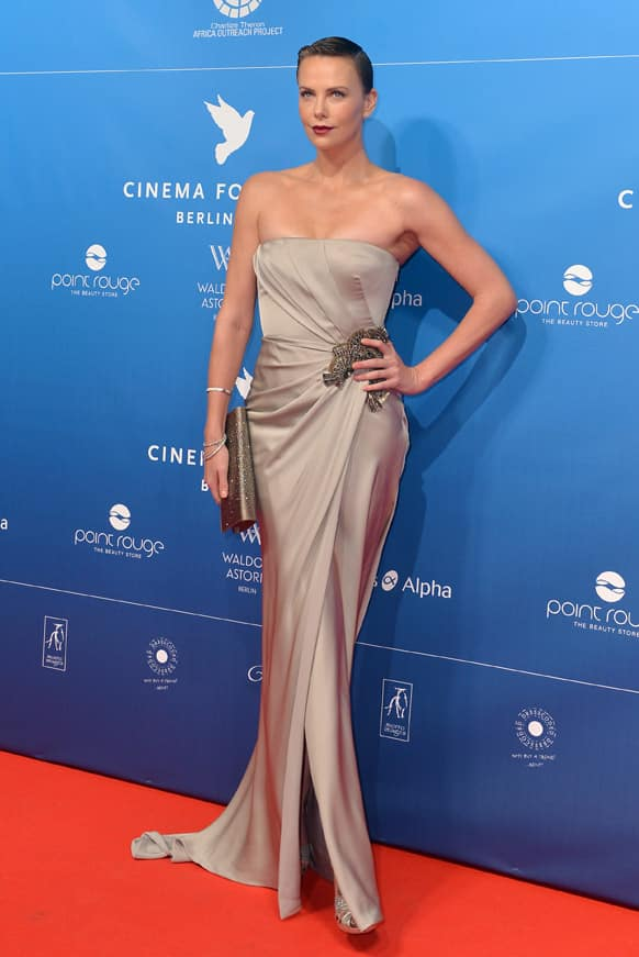 South-African born actress Charlize Theron arrives for the Cinema for Peace Gala during the 63rd edition of the Berlinale, International Film Festival.