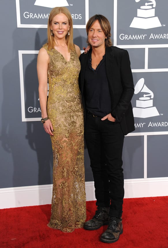 Nicole Kidman, left, and Keith Urban arrive at the 55th annual Grammy Awards.