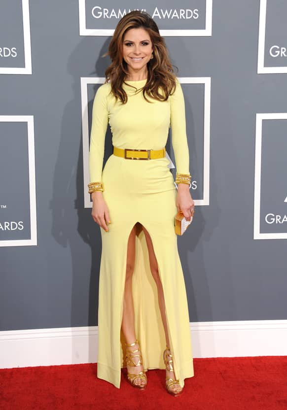 Maria Menounos arrives at the 55th annual Grammy Awards.