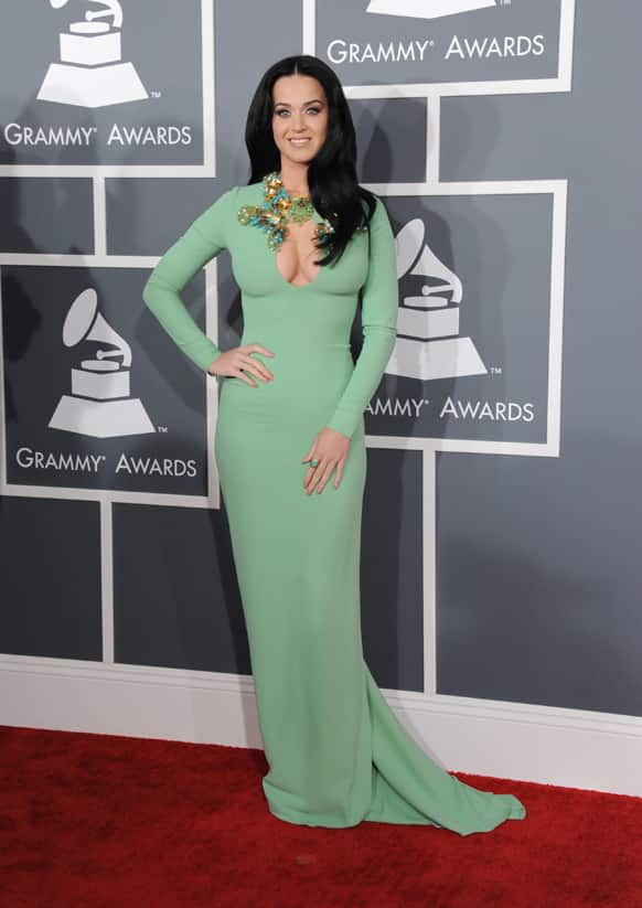 Katy Perry arrives at the 55th annual Grammy Awards.