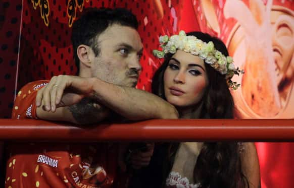 US actress Megan Fox and her husband Brian Austin Green attend the carnival parades at the Sambadrome in Rio de Janeiro, Brazil.