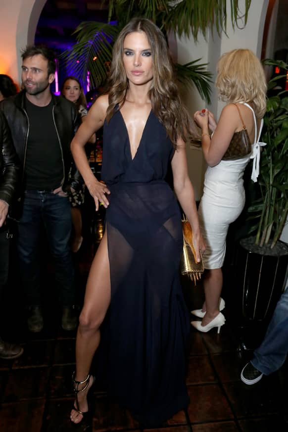 Model Alessandra Ambrosio attends Warner Music Group 2013 GRAMMY celebration along with InStyle presented by Mini at Chateau Marmont in West Hollywood, Calif.