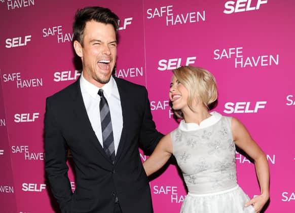 Actors Josh Duhamel and Julianne Hough attend the premiere of