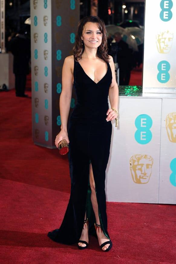 Samantha Barks arrives for the BAFTA Film Awards at the Royal Opera House.