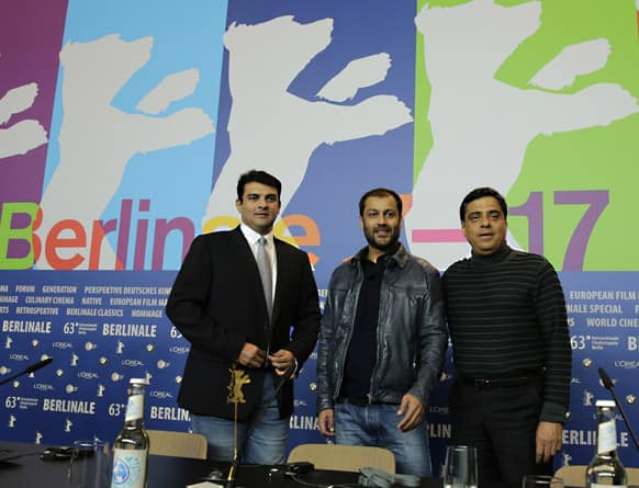 Producer Ronnie Screwvala, director Abhishek Kapoor and producer Siddharth Roy Kapur during the press conference of the film Kai Po Che at the 63rd edition of the Berlinale, International Film Festival.