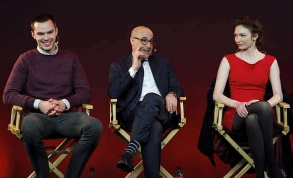 British actor Nicholas Hoult, U.S actor Stanley Tucci, and British actress Eleanor Tomlinson at a 'Meet the Filmmakers' session, held at the Apple Store in central London.