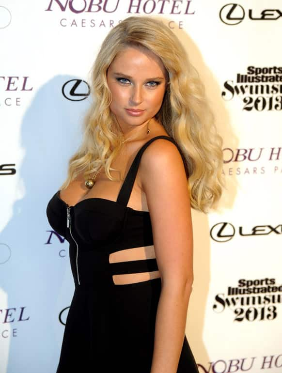Sports Illustrated Swimsuit Issue model Genevieve Morton walks the red carpet at Caesars Palace, in Las Vegas.