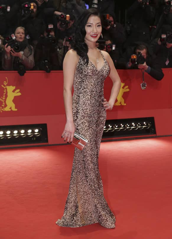 Alice Cage arrives for the screening of the film The Croods at the 63rd edition of the Berlinale, International Film Festival in Berlin.