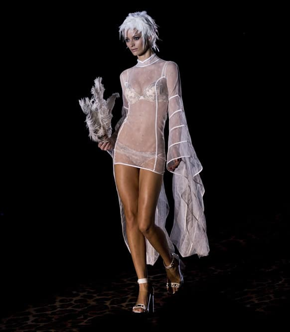 A model displays an Autumn/Winter design by Andres Sarda during Madrid's Fashion Week, in Madrid.