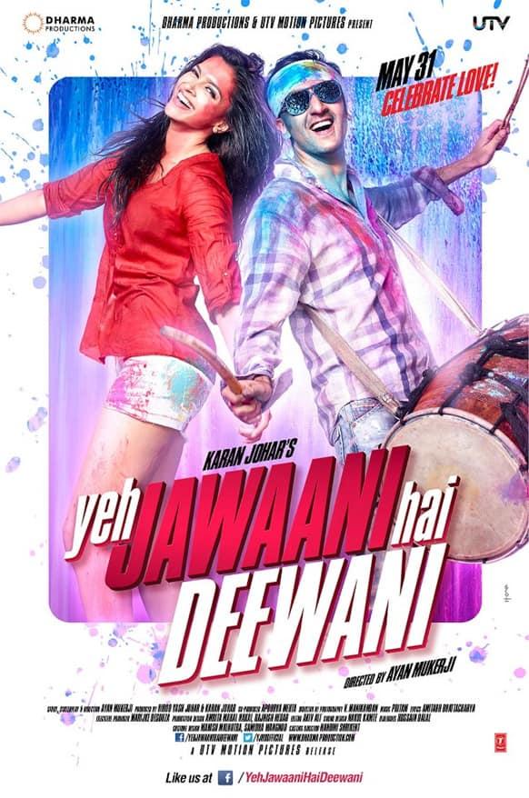This is what the second poster of Karan Johar's upcoming film 'Yeh Jawaani Hai Deewaani' looks like. The film stars Deepika Padukone and ranbir Kapoor
