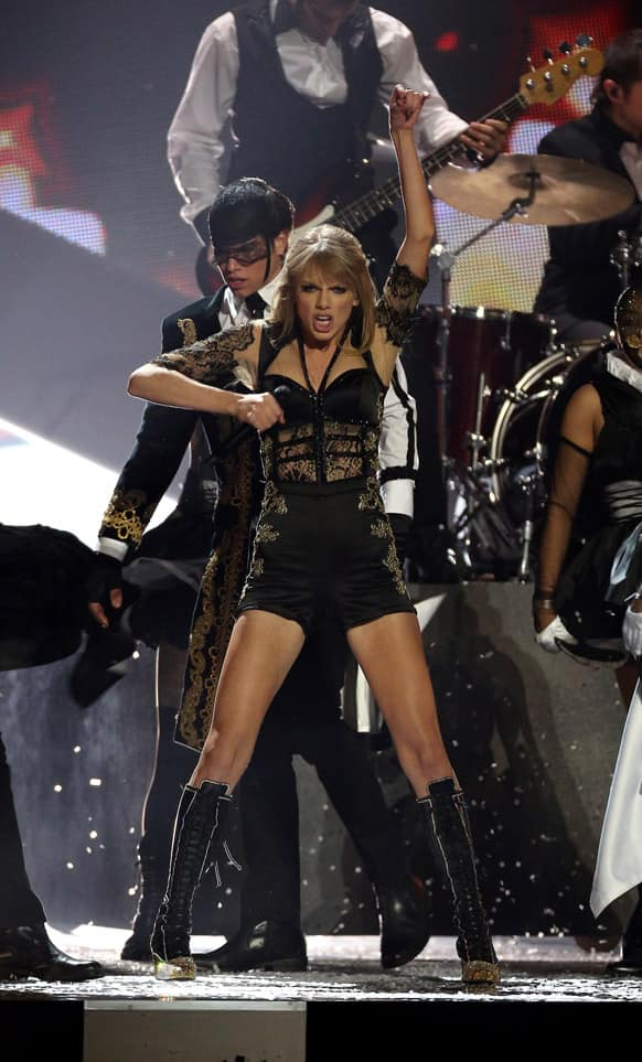 Taylor Swift performs on stage during the BRIT Awards 2013 at the o2 Arena in London.
