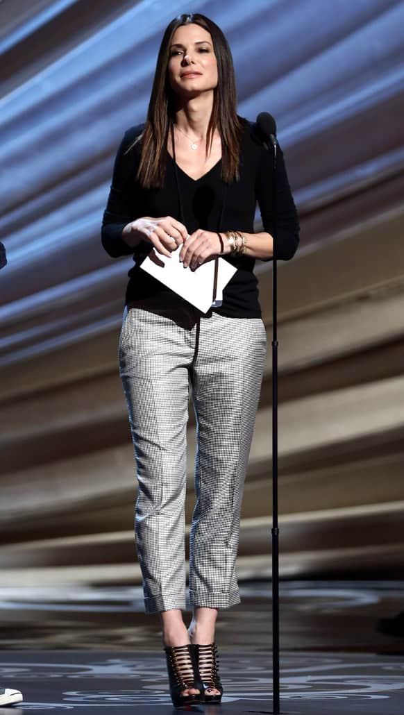 Actress Sandra Bullock is seen during rehearsals for the 85th Academy Awards in Los Angeles.