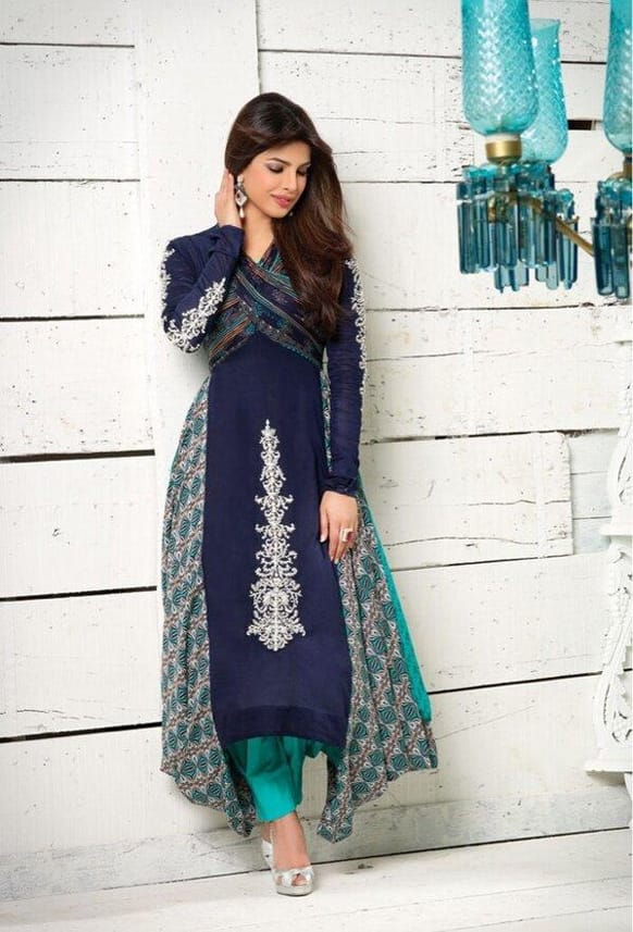 The gorgeous Priyanka Chopra, clad in a Fahad Hussayn creation, poses for a photograph.
