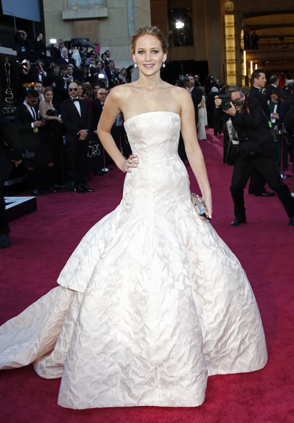 Actress Jennifer Lawrence arrives at the Oscars at the Dolby Theatre.