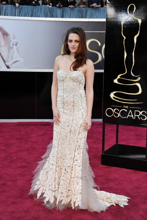 Actress Kristen Stewart arrives at the Oscars at the Dolby Theatre.