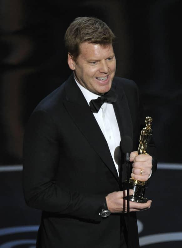John Kahrs accepts the award for best animated short film for
