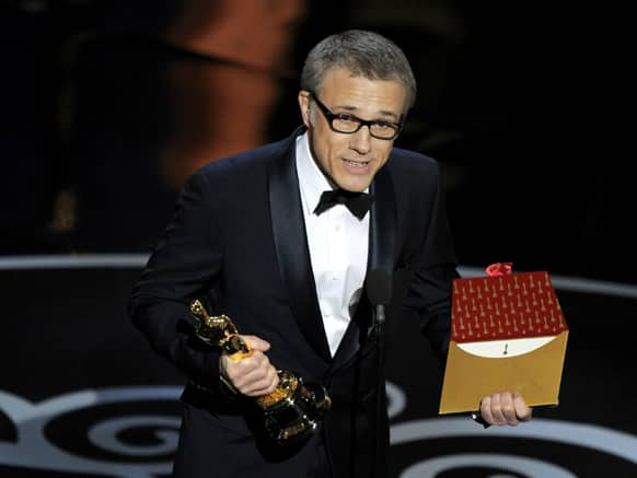 Actor Christoph Waltz accepts the award for best actor in a supporting role for