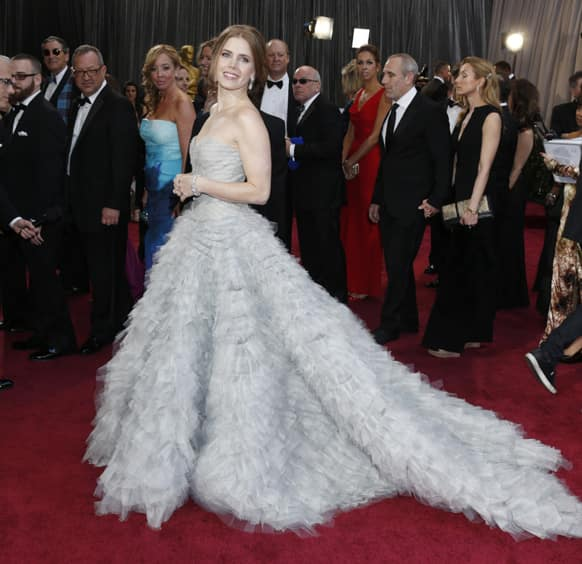 Actress Amy Adams arrives at the 85th Academy Awards at the Dolby Theatre.