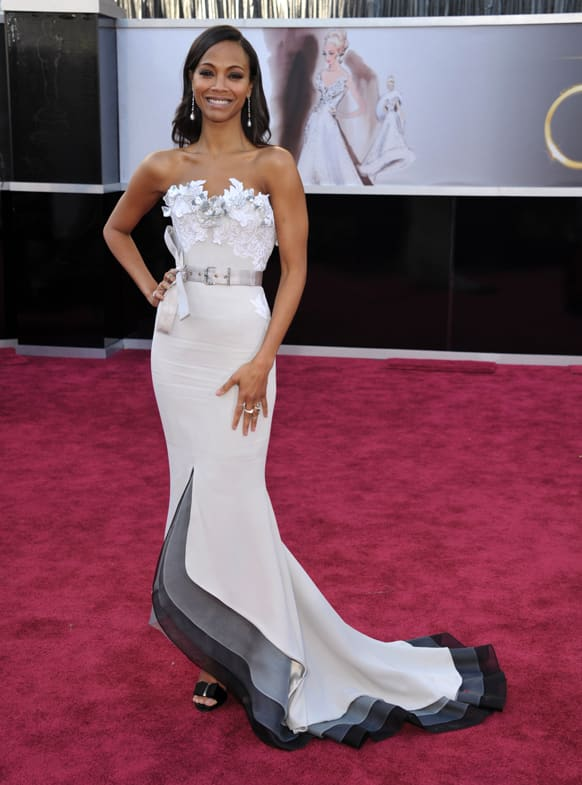 Actress Zoe Saldana arrives at the 85th Academy Awards at the Dolby Theatre.