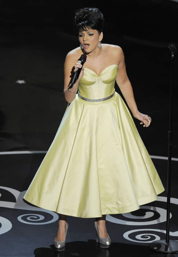 Singer Norah Jones performs during the Oscars at the Dolby Theatre.