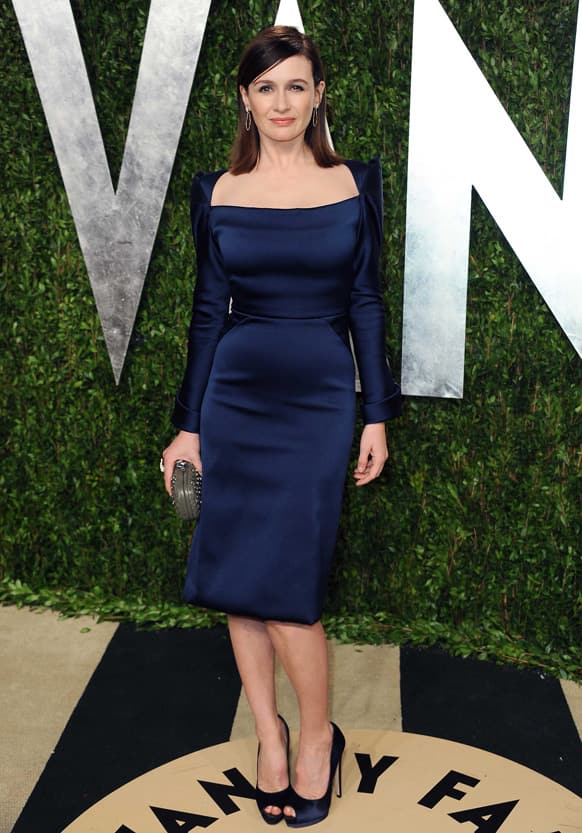 Actress Emily Mortimer arrives at the 2013 Vanity Fair Oscars Viewing and After Party, at the Sunset Plaza Hotel in West Hollywood, Calif.