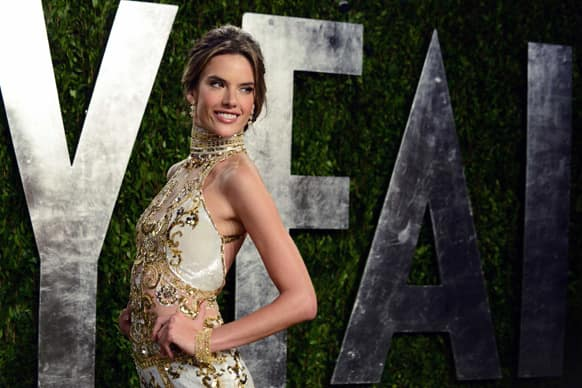Model Alessandra Ambrosio arrives at the 2013 Vanity Fair party, at the Sunset Plaza Hotel in West Hollywood, Calif.