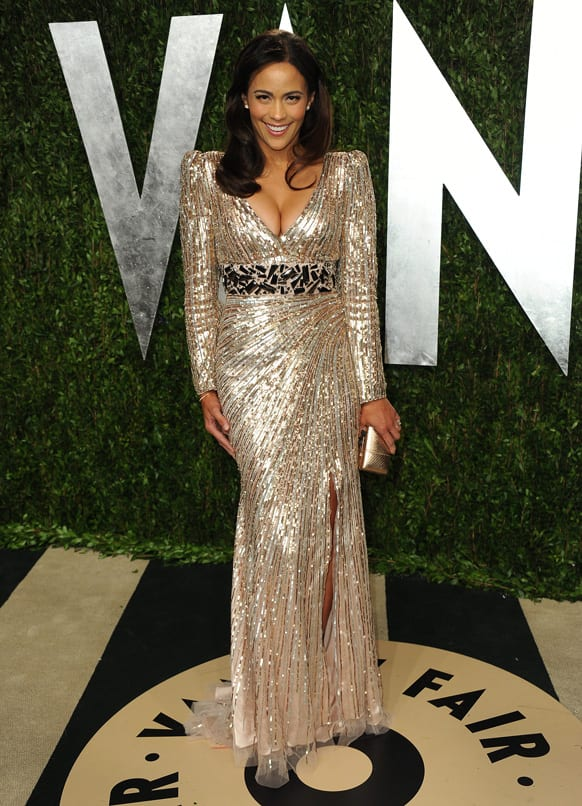 Actress Paula Patton arrives at the 2013 Vanity Fair Oscars Viewing and After Party.