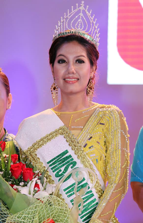 Miss Myanmar International winner Gonyi Aye Kyaw smiles after being crowned in Miss Myanmar International competition at Myanmar Convention Center in Yangon, Myanmar.