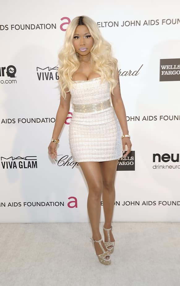 Singer Nicki Minaj arrives at the 2013 Elton John Oscar Party in West Hollywood, Calif.
