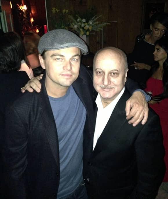 Anupam Kher with Leonardo DiCaprio.