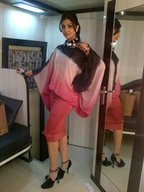 Wearing a dress by Shivan Narresh,love the construction, says Shilpa Shetty. Image courtesy: @TheShilpaShetty