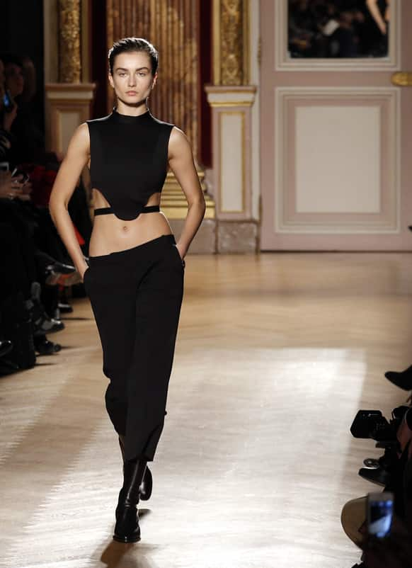 A model presents a creation for Barbara Bui's Ready to Wear's Fall-Winter 2013-2014 fashion collection presented, in Paris.