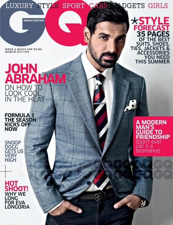The dashing John Abraham graces the cover of the March 2013 issue of the GQ India magazine.