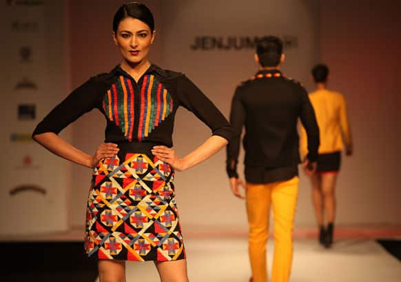 A model displays a creation by Jenjum Gadi during the North East Fashion Fest show in Guwahati.