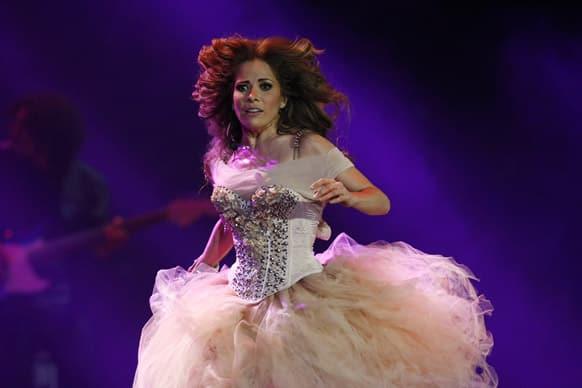 Mexican singer Gloria Trevi performs at the Vina del Mar International Song Festival in Vina del Mar, Chile.
