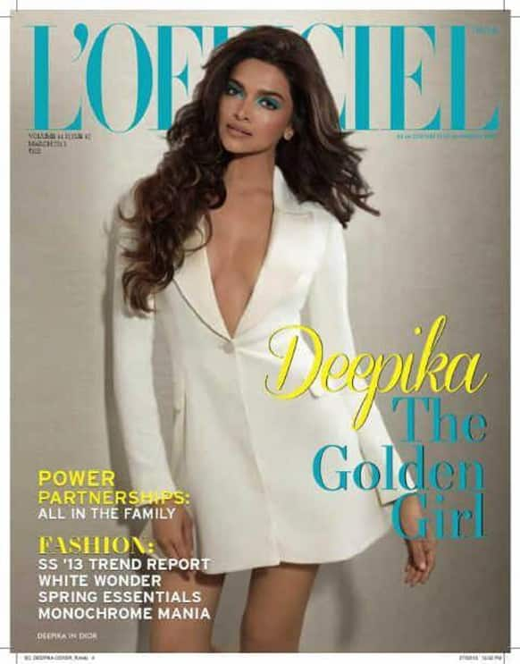 Deepika Padukone, in an unconventional look, on the cover of the March 2013 issue of L'Officiel India.