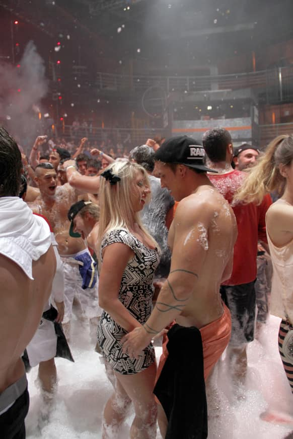 Spring Break revelers enjoy a foam party at a nightclub in the resort city of Cancun, Mexico.
