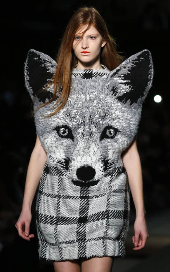 A model presents a creation for Jean-Charles de Castelbajac's Ready to Wear's Fall-Winter 2013-2014 fashion collection, presented, in Paris.