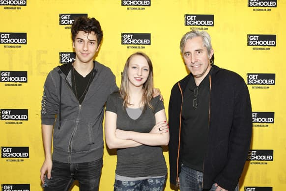 Actor Nat Wolff, student Kit Lucas, from Alaska who demonstrated focus and drive in preparing for college as part of the Future Forward Challenge, and director Paul Weitz of ADMISSION pose at the GET SCHOOLED special screening of ADMISSION and Q&A at the Bronx Validus Preparatory School.