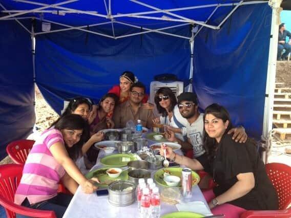 Deepika Padukone poses with her movie's crew.