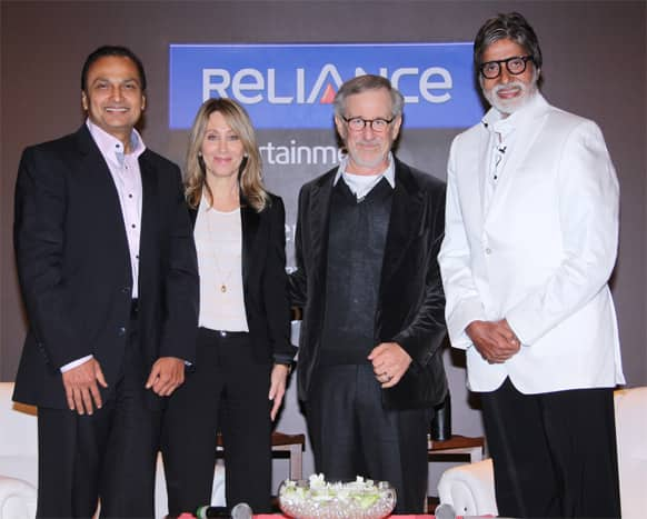 Amitabh Bachchan and veteran Hollywood director Steven Spielberg pose for a photo along with Anil Ambani during the director's visit to Mumbai.