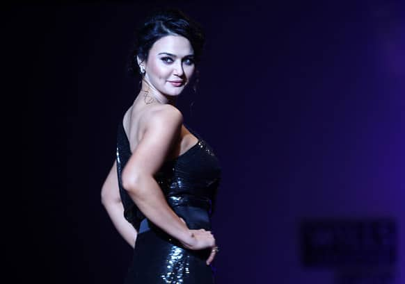 Preity Zinta displays a creation by Surily Goel during the Wills Lifestyle India Fashion Week in New Delhi.