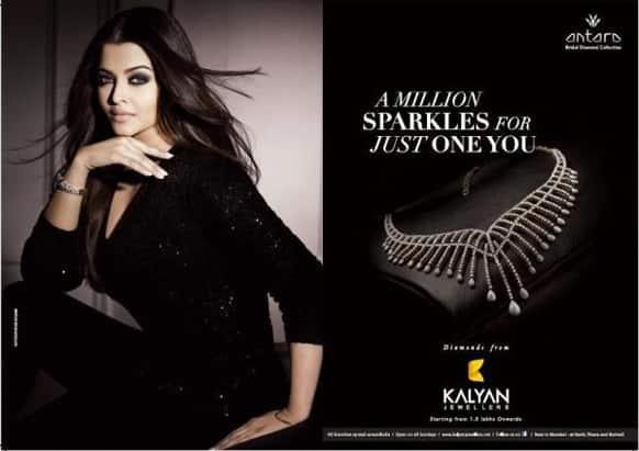 Aishwarya Rai looks gorgeous in a black attire on the print ad for Kalyan Jewellers.